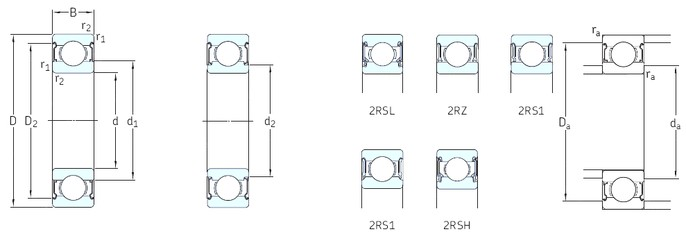 7 mm x 19 mm x 6 mm  SKF 607-RSL deep groove ball bearings